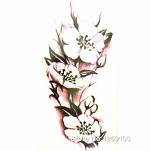 Design White Flower 21x10cm Cool Waterproof Temporary Tattoo Stickers