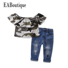 EABoutique summer Fashion girls clothes CUTE camouflage pattern ruffle flat shoulder tee with jeans 2 piece outfit