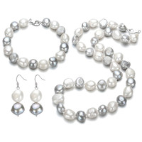 SNH 11 12mm Baroque AA Natural Freshwater Pearl Jewelry Set For Women's 925 Sterling Silver Wedding