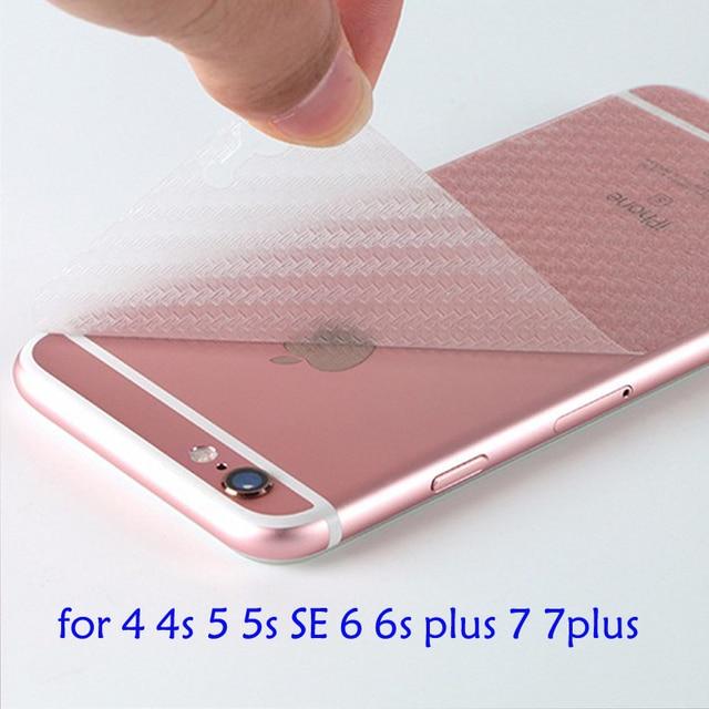 3D Анти-отпечатков пальцев Протектор Экрана Прозрачный Углеродного Волокна Назад Пленка Для iphone 7 плюс 4 4S 5 5S 6 6 s 6 плюс Защитный Кожух