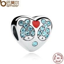 Bamoer 925 corazón rojo plata azul peces de cristal encantos del corazón de la pulsera que hacía scc020 madre regalo