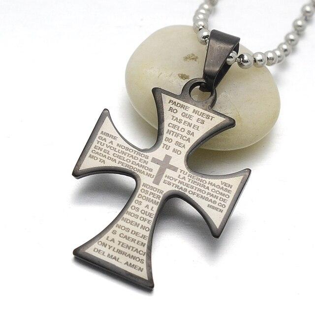 Black stainless steel spanish lords prayer maltese cross pendant black stainless steel spanish lords prayer maltese cross pendant necklace w free chain 60cm long aloadofball Images