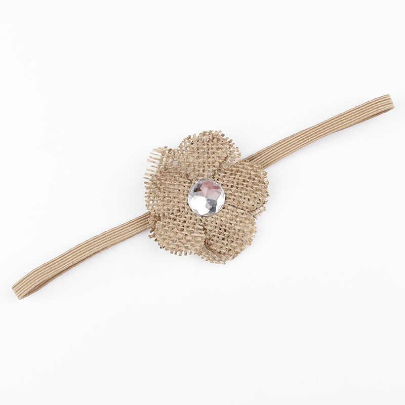 1PCS Kinder Mädchen Chiffon Blume Stirnband Sackleinen Blume Haar Band Zubehör Headwear Newborn Foto Schießen Haar Zubehör