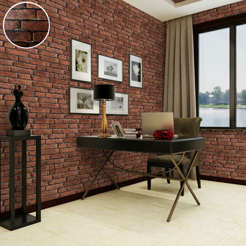 Decorative vinyl imitation red brick wall wallpaper 3d for Vintage bedroom wallpaper