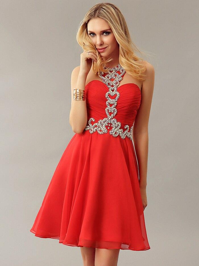 Red Halter Cocktail Dress Promotion-Shop for Promotional Red ...