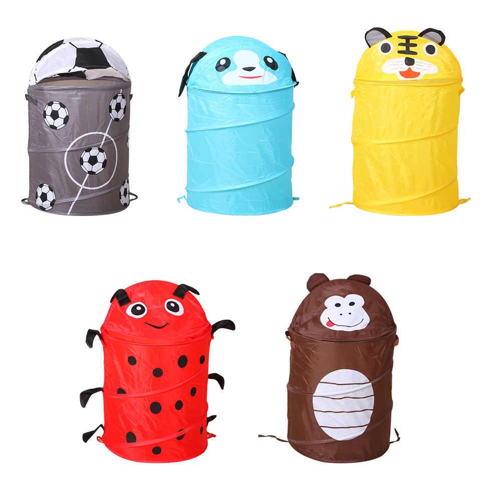 Bonito dos desenhos animados animais cesta dobrável cesta de armazenamento de roupas cesta de lavanderia roupas sujas balde de brinquedo caixa organizador saco de armazenamento 1pc