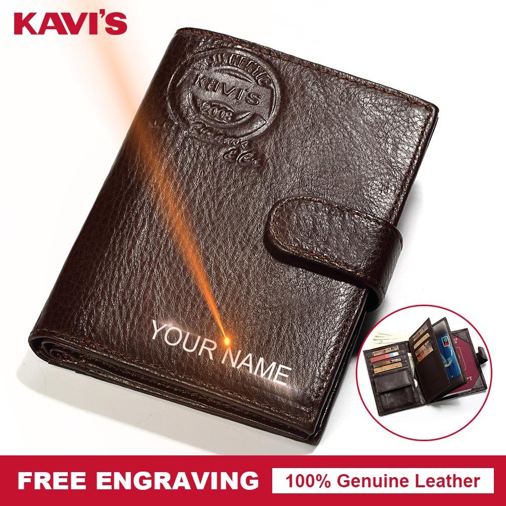 KAVIS Free Engrave Genuine Leather Wallet Men Passport Cover Coin Purse Travel Walet PORTFOLIO Portomonee Vallet And Card Holder