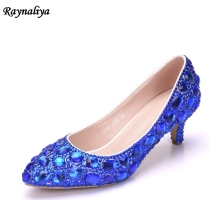 Women Handmade Female Noble Diamond Wedding Shoes Sexy Blue White 5CM High Heels Pointed Toe Dress XY-A0008