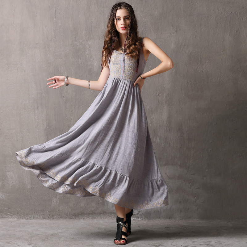 Robes Broderie A Strap ligne Manches Robe Femmes Fleur Denim Vintage Bleu Longue D'été 2018 z7YfRwqF