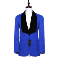 Royal Blue Men Business Suit Jackets Sets Slim Fit Floral Pattern Bridegroom Tuxedo Coat Black Velvet Ship Collar Lapel CUSTOM