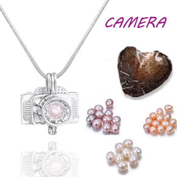 Glove cage pendant Silver Plated with Vacuum oyster pearl great Fashion mix Style Jewelry Valentine's day meaning present  PO148 4