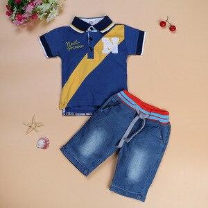 Image 3 - Bambino Ragazzo Jean Insiemi Dei Vestiti Dei Bambini di Polo Shirt + Short di Jeans Dei Ragazzi del Vestito di Abiti Per Bambini Abbigliamento Casual Infantile Dei Vestiti della Mutanda 2 7Year