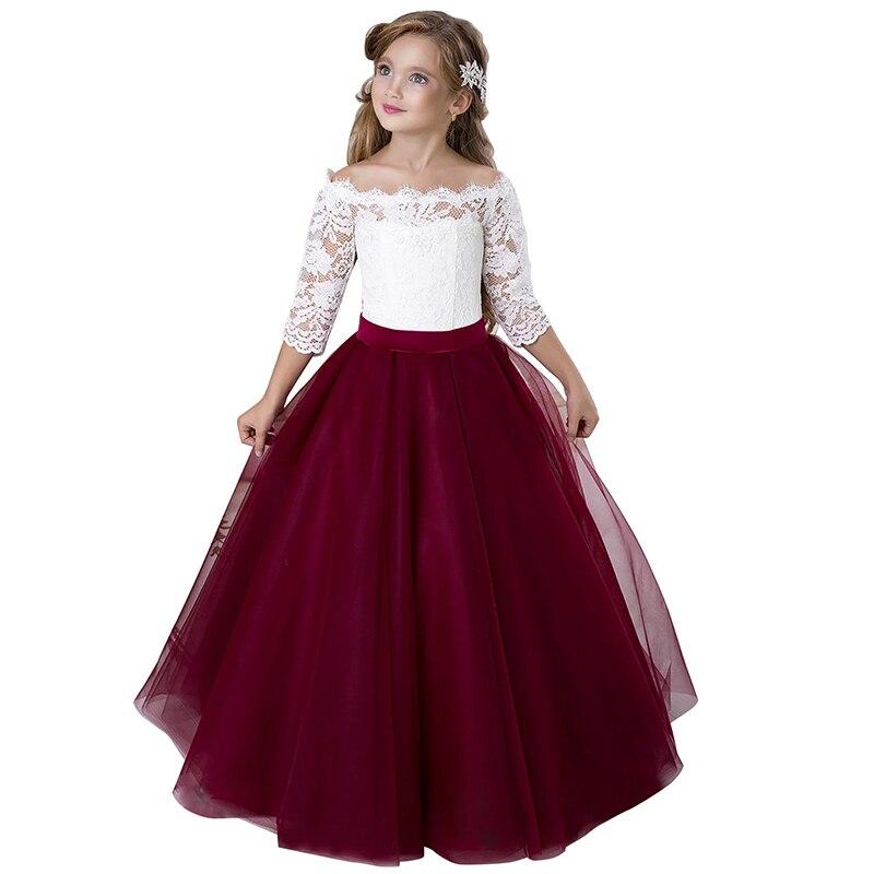 Hors de l'épaule bleu Royal Bling Bling robes de bal robes de filles de fleur pour le mariage petits enfants robes de première Communion enfant