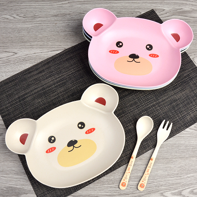 Baby bowl spoon fork Feeding Food Tableware Cartoon Panda Kids Dishes Baby Eating Dinnerware Set Anti hot Training Bowl Spoon in Dishes from Mother Kids