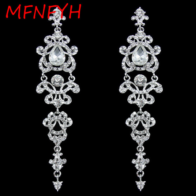 MFNFYH Vintage Black Long Earrings with Stones Crystal Chandelier ...