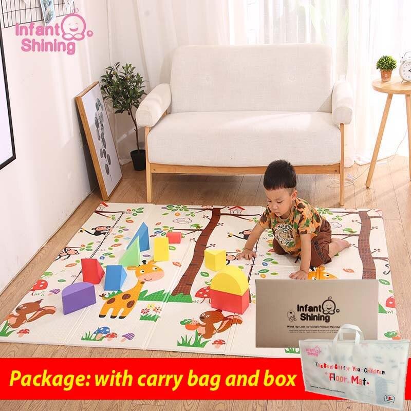 Infantile brillant pliable bébé tapis de jeu pliant ramper Pad XPE bébé chambre tapis enfants tapis de sol 200*150 cm tapis de jeu pour les nourrissons