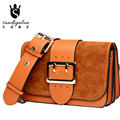 New Women Casual Genuine Leather Shoulder Bag Belt Decoration Scrub Messenger Shoulder Bag Ladies Crossbody Handbags Bolsas