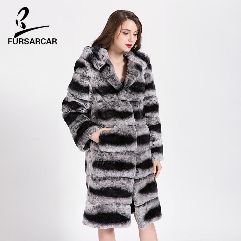 Capuchon Lapin Style Long As De Cuir D'hiver Naturel Véritable Fursarcar Femmes Luxe En Show Rex Fourrure Avec Veste Manteau Réel Cfnqw