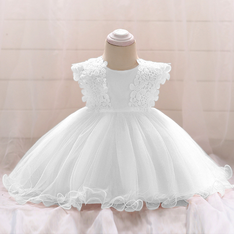 48197049206ce DE PEACH 2019 New Baby Girl Lace Flower Wedding Dress Baby Princess  Birthday Party Baptism Dress Infant Toddler Christening Gown