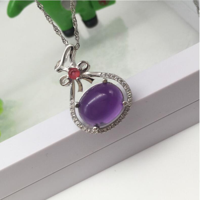 Amethyst pendant Free shipping Necklace pendant Natural amethyst pendants 925 sterling silver 10mm цена и фото