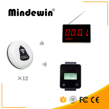 Mindewin 12pcs Call Transmitter Button Watch Receive Restaurant Pager Wireless Calling System Catering Equipment+digital