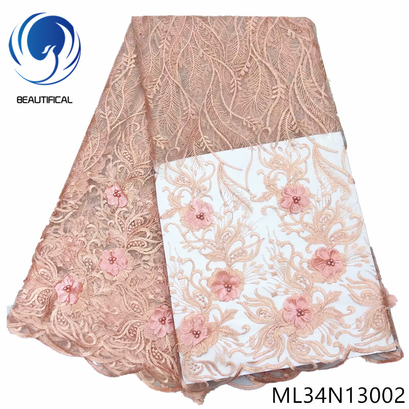 BEAUTIFICAL french tulle with beads flower embroidery fabric 3d net african lace ML34N130