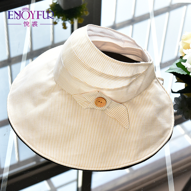 ENJOYFUR Summer Sun Hats For Women Big Brim Open-top Visor Sun Hats  Ponytail Beach 3943e608506b