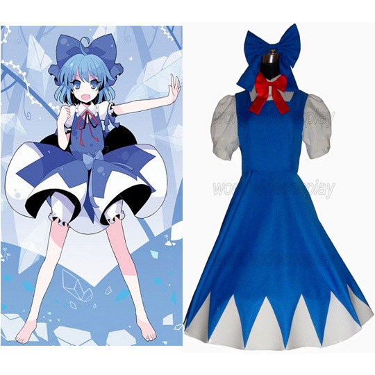 Free Shipping Touhou Project Cirno Cosplay Costume Custom Made for Halloween and Christmas anime touhou project flandre scarlet cosplay costume custom any size halloween
