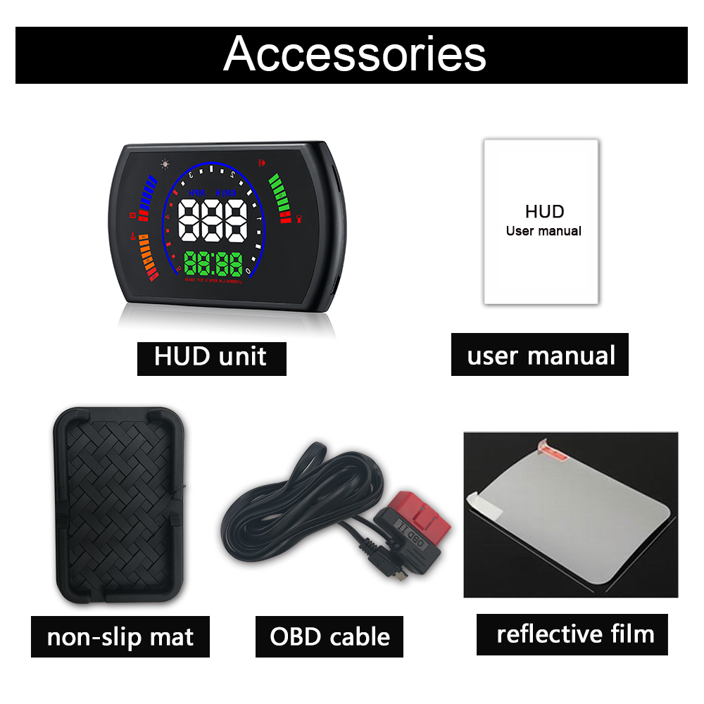 Image 5 - OBDHUD S600 Head Up Display Car  Speed Windshield Projecto OBD Interface HUD RPM Voltage Water Temperature Fuel Cosumption-in Head-up Display from Automobiles & Motorcycles
