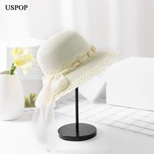 USPOP 2019 New women straw sun hat summer soft chiffon ribbon bow-knot straw hat casual women metal chain wide brim beach hats