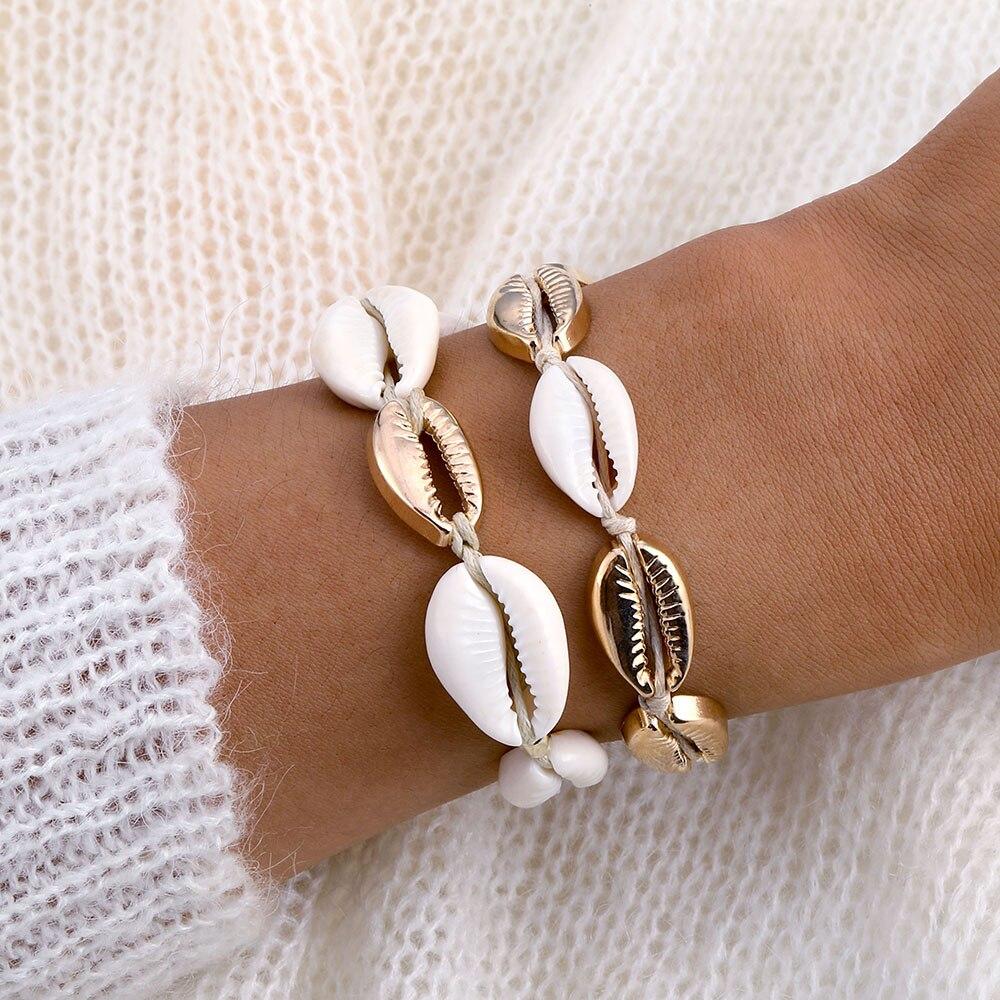Vienkim New Gold Color Cowrie Shell Bracelets For Women Delicate Rope Chain Bracelet Beads Charm Bracelet Bohemian Beach Jewelry