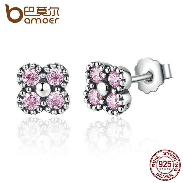 Sterling Silver Pink Stone Small Stud Earrings