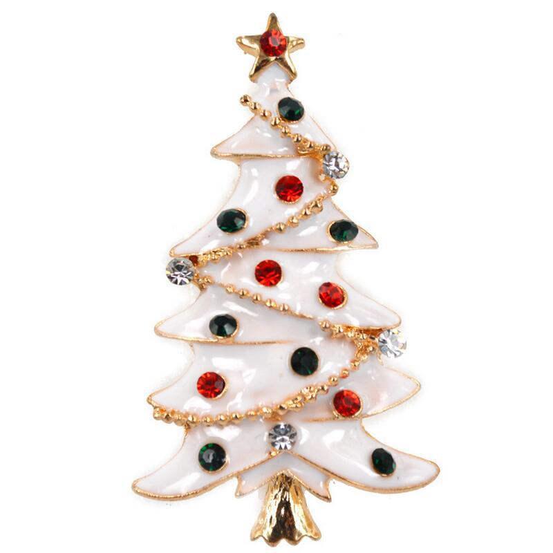 DoreenBeads 1PC Metal Christmas Tree Shape Enamel Badge White Safety Pin Brooch Cardigan Sweater Deco Xmas New Year 5.3*3.1cm