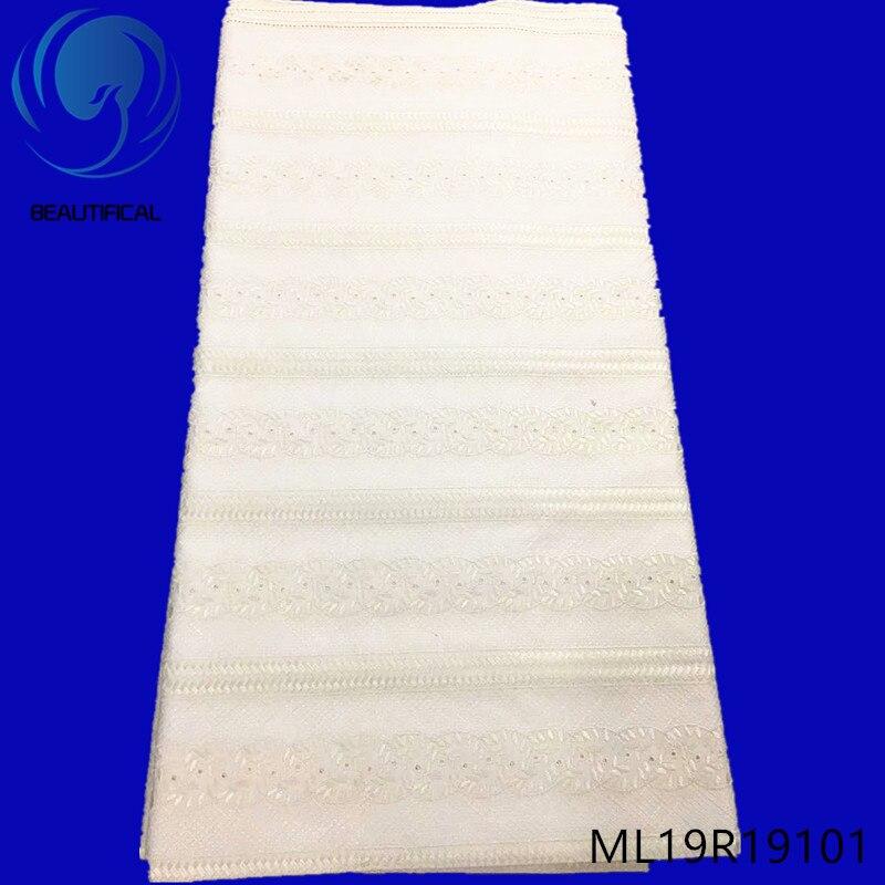 Beaux tissus de dentelle de coton africain 5 yards/lot nouveauté dentelle polonaise pour hommes tissu dentelle de voile suisse nigérienne ML19R191