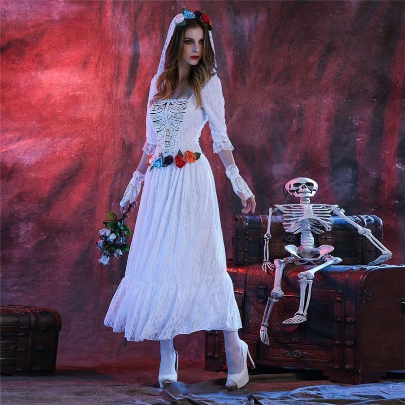 Nueva loco blanco la Novia Cadáver traje para las mujeres adultas ...