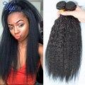 6A Grade Malaysian Kinky Straight Virgin Hair 4 Bundles Coarse Yaki Human hair Extensions light Yaki straight Hair
