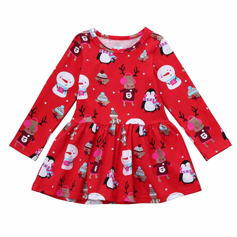 Christmas Girl Clothes Girls Dress Toddler Baby Kids Girl Cartoon Printed Long Sleeve Dress Pageant Party Princess Dress #BL2