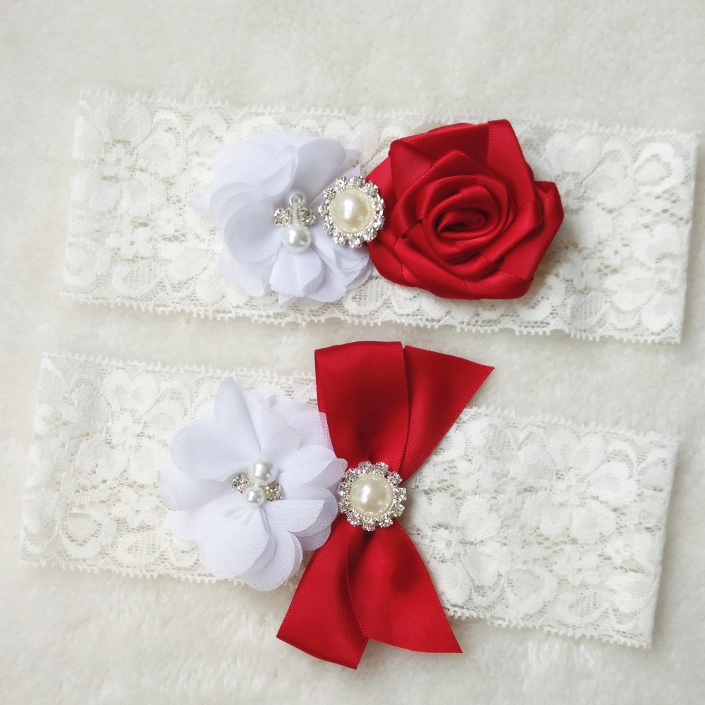 Red Wedding Garters: 1 Pair NEW Wedding Garter Set Red Bridal Lace Garter
