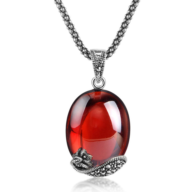 famous brand authentic 925 Sterling Silver Pendant Garnet Green Agate Necklace retro fashion special female girlfriend gift