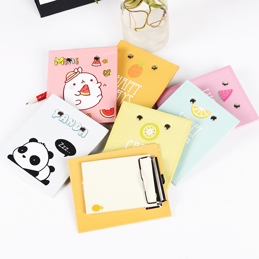 Candy Colors Pad Clip With Memo Pad Pineapple Rabbit Panda Notesbook Sticky Notes DIY Student Stationery