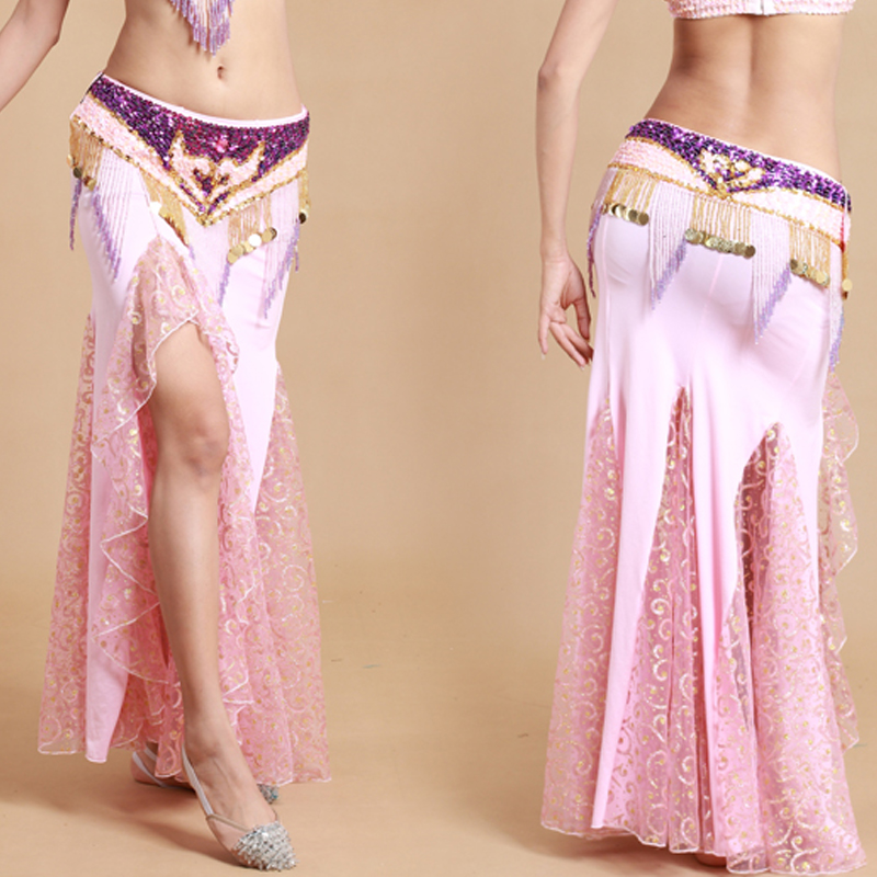 Indian dress lace milk silk 6 colors belly dance skirt dress for ...