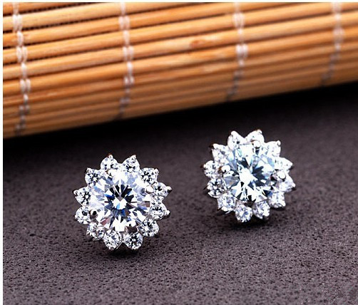 Luxury Jewelry 4 Carats Nscd Simulated Stud Earrings 925 Sterling Silver Wedding Sunflower