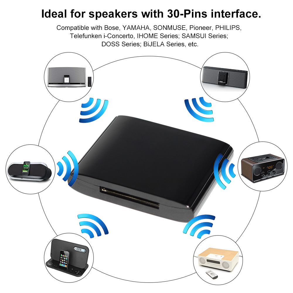 Home Stereo Compatible with Bose Yamaha 30 Pin Bluetooth Adapter for Speakers ihome JBL Philips Sony Bose Sounddock Bluetooth Adapter Docking Station