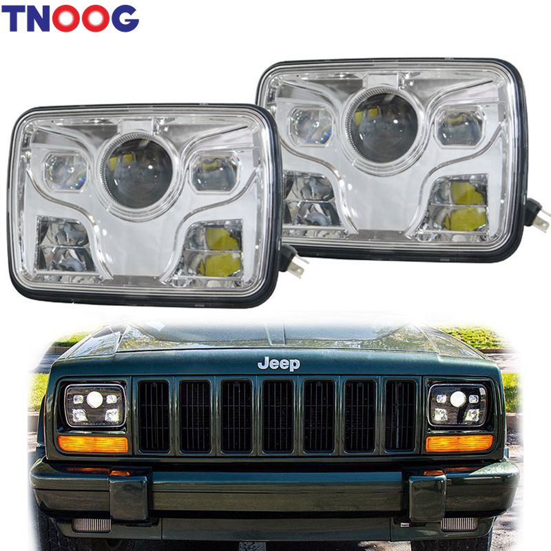 TNOOG 2pcs 5''x 7'' Inch Daymaker led headlight High Low Beam Headlamp for jeep Wrangler YJ Cherokee XJ Trucks 4X4 Offroad for jeep wrangler jk round 7 high low beam 50w led driving headlight for hummer offroad 4x4 7 inch daymaker headlamp angel eye