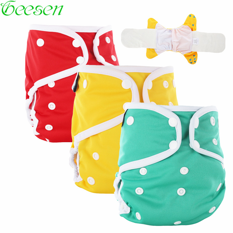 где купить AIO Baby Cloth Diaper With Bamboo Inserts,Reusable Waterproof PUL All In One Size Adjustable Nappies With White Color Binding дешево