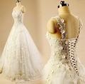 Actual Photos  New Long Wedding Dress 2016 Scoop Neck Lace Up Back A-Line Chapel Train Tulle Vestidos de novia LISABRIDAL