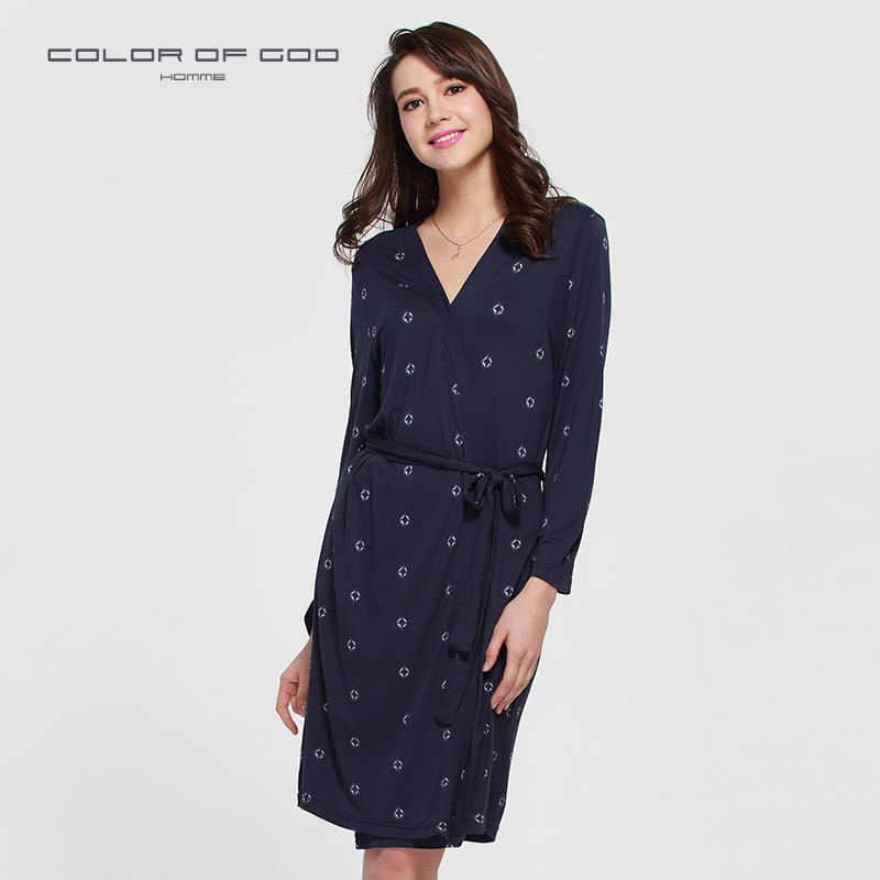Brand New Long Robe Soft Modal Bathrobe For Women Kimono Nightie Cute Navy  Blue Long- 8cabef7b1