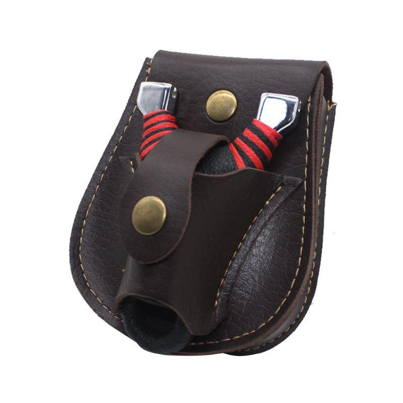 Handmade Leather 2 In 1 Hunting Slingshot Catapult Steel Balls Bearings Bag Pouch Case Holder Belt Pouch Bag Fanny Pack For Man