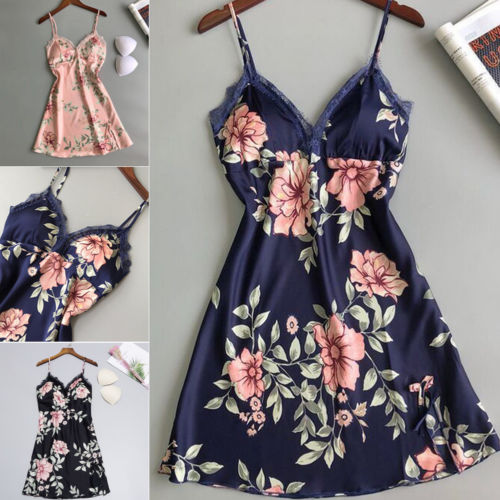 Summer Women Sexy-Lingerie Sleeveless Sleepwear Satin Silk Babydoll Lace Printed Nightwear Pajamas Set New