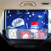 70*50cm Multifunction Cartoon Car Curtain With Oragnizer Nets Storage for Children Auto Rear Window Sun Blinds Sunshade Curtain white embroidered short curtain for kitchen floral sheer tulle curtains for bedroom voile window screening curtain blinds drapes